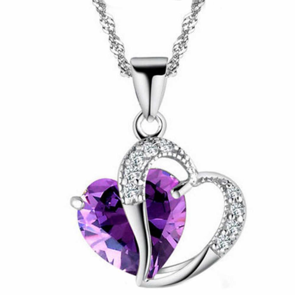 Ожерелье в форме сердца ожерелье из циркония цепь ключицы свитер цепь женское сердце горный хрусталь Серебряный кулон ювелирные изделия #5-6