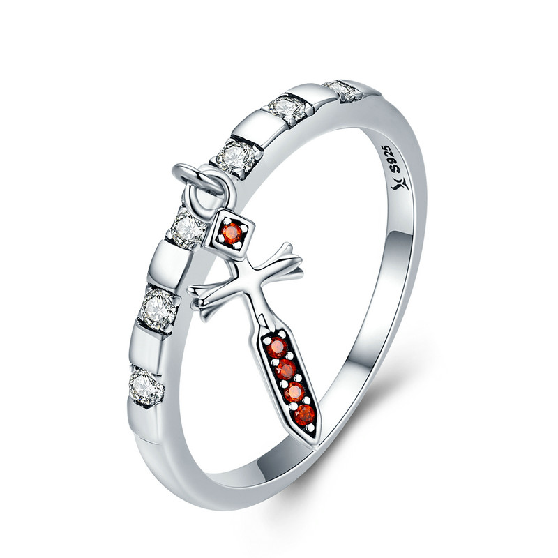 100% 925 Sterling Silver Day Ring Tuesday Tyr Courage Sword Dangle Female Ring for Women Sterling Silver Jewelry