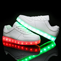 Led Shoes men 2016 Big size 36-43 Fashion Light Men high-quality casual Shoes Male Shoes Outdoor travel dance Led USB Shoes
