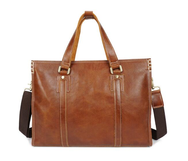 Vintage Genuine Leather Cow Skin Large Briefcase Leisure Handbag