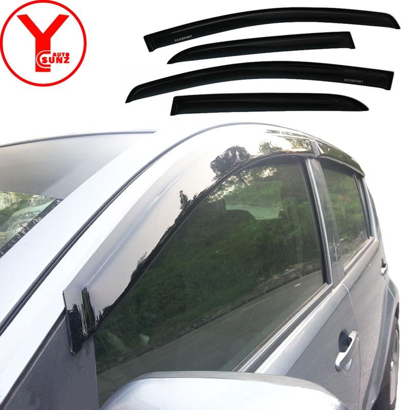 2015-2017 door window visor For Ford Ecosport 2015 2016 2017 BLACK side rain guards deflectors accessories for Ecosport YCSUNZ 2015 rzl121