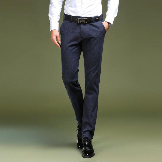 Для мужчин s Брюки 2018 Формальные Для мужчин брюки офис мужской полноценно Бизнес прямые брюки костюм Однотонная одежда Повседневное тонкий Брюки
