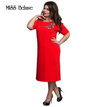 Vintage Autumn Style Vestidos 6XL Plus Size Women Flower Embroidery Dress 2017 Elegant Office Evening Party Big Large Size Dress