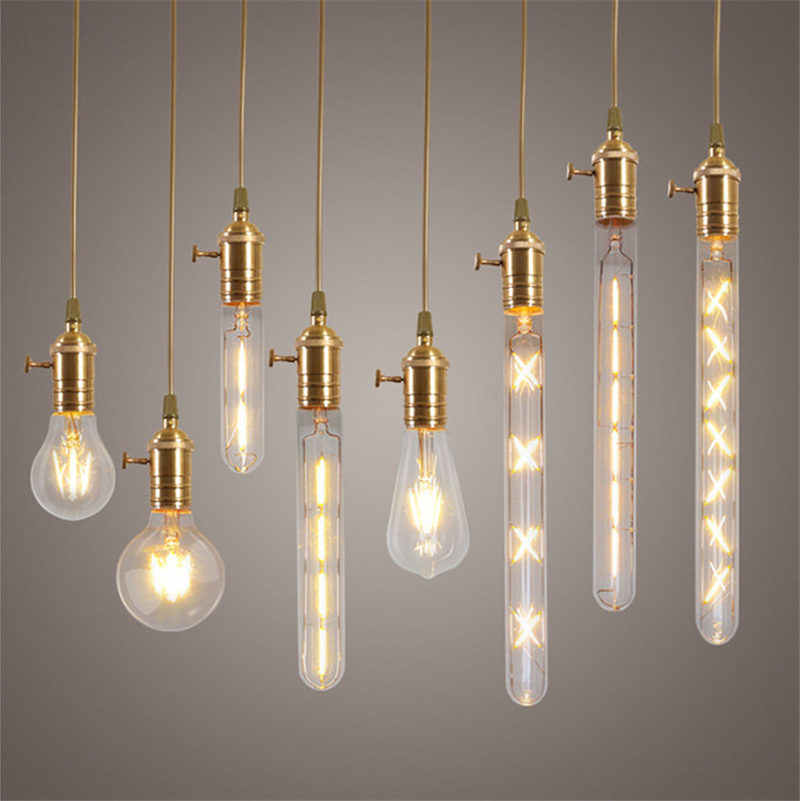 2-8W E27 COB LED Light Edison Bulb Dimmable Incandescent Bulbs Retro Filament Light Globe Bulb Christmas Decor Lighting AC220V