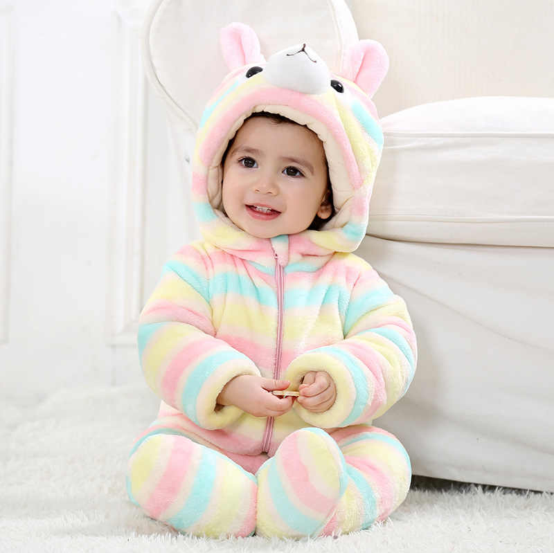 fc5cf8f4960d 2018 Winter Newborn Baby Boy Girls Flannel Rompers Baby Cartoon Thick Warm  Animal Costumes Baby Cute