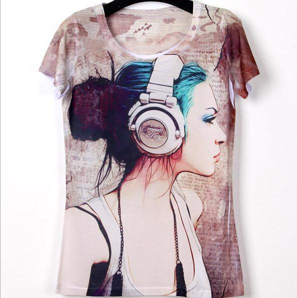 New Rock&Roll Punk T-shirt Top 3D printed cotton t-shirt Cute girl Printed Music pattern cotton Tee