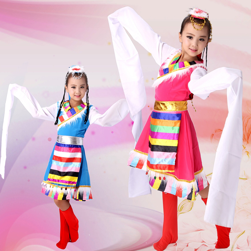 Customized National Minority Toddler Girls Long Sleeve Tibetan Mongolian Style Show Performance Stage Custumes Dance Dress Sets