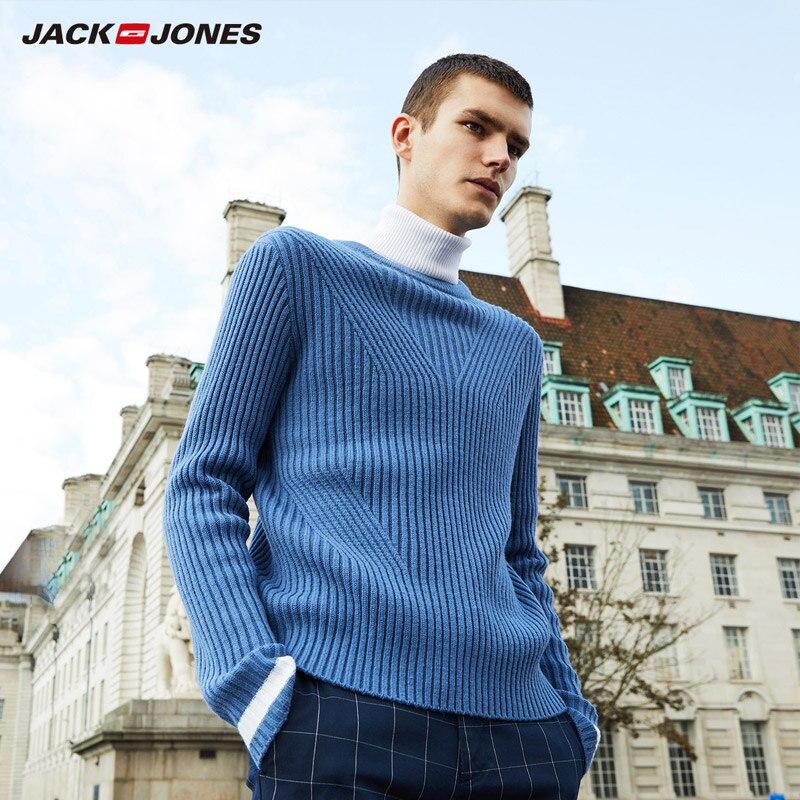 JackJones 2019 spring new wool-blend round neck slim sweater |218325513