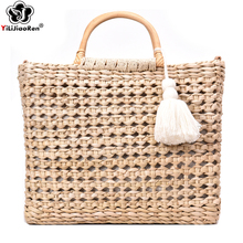 Fashion Straw Summer Handbags Large Capacity Tote Bag Handmade Rattan Woven Women Beach Bag Bohemian Shoulder Bags for Women все цены