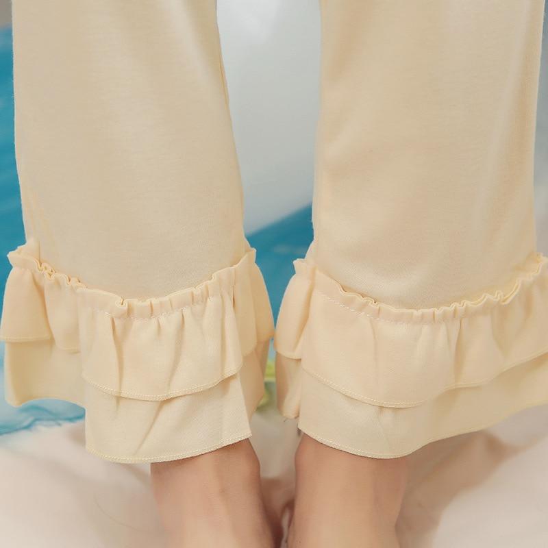 Catoon Eyelash Homewear Cute Ruffled Sleeve Pajama Sets Women Girls Pajama Set Elastic Waist Pants Cotton Lounge pijamas S86713