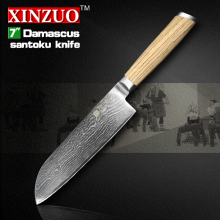 XINZUO 7″ inch santoku knife Damascus kitchen knife 73 layers Japan VG10 chef knife kitchen tool with logs handle free shipping