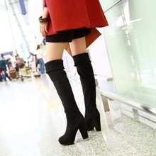 Wholesale plus size 40-43 Stretch with thick high-heeled boots big yards knee large size women's boots