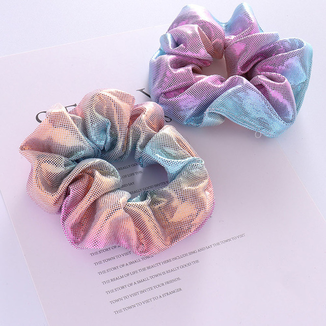 1PC Colorfu Hair Accessories For Women/Girl Gradient Elastic Gun Hairbands Ponytail Holder