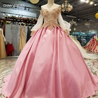 LS1012 pink sweetheart off shoulder a line evening dress long sleeve lace up satin cheap dress with brush train for sexy girls