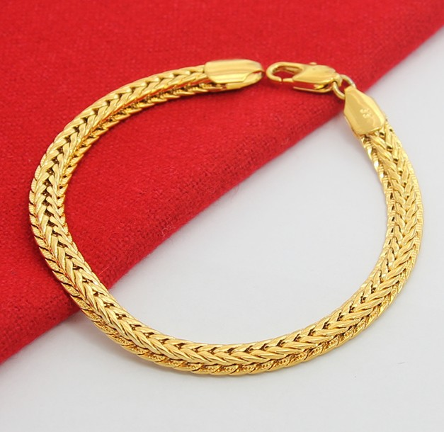 Top Quality Whole Fashion Jewelry 24k Yellow Bracelet Snake 18 Karat Gold Ks157 Men