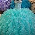 2016 Faísca Cristais Puffy Vestidos Quinceanera Sweet 16 Vestidos de Babados de Organza Saia Vestido De Baile Sweeetheart Vestidos De 15 Anos