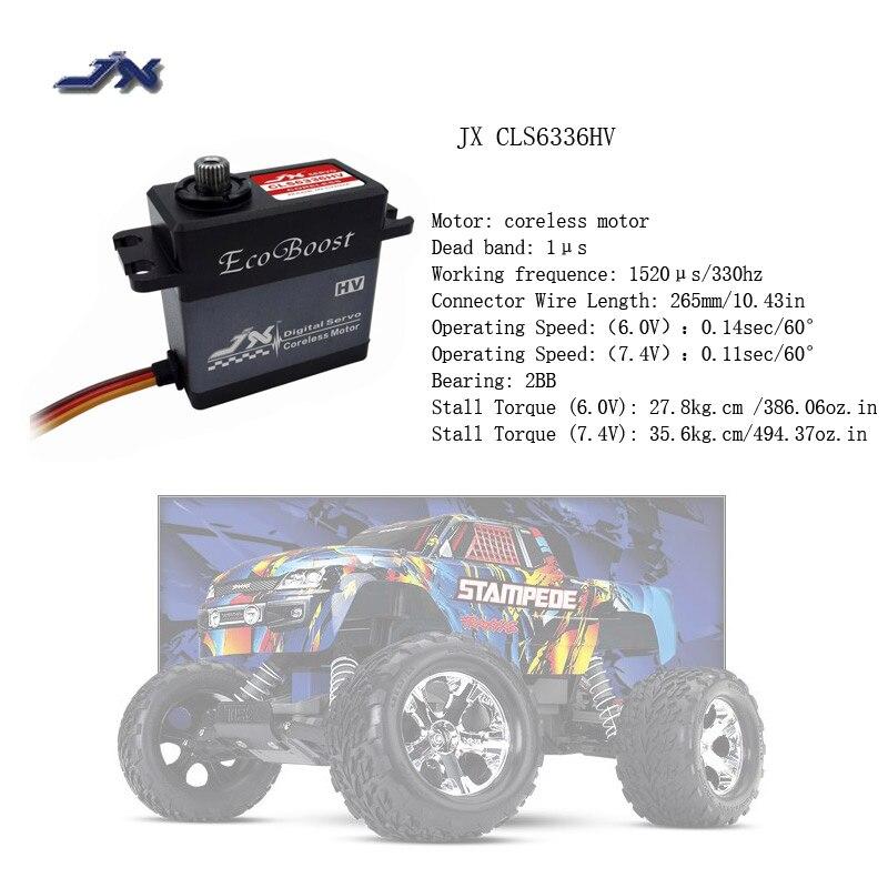 JX CLS6336HV 6.0 v-7.4 v Numérique Metal Gear Sans Noyau Moteur HV Servo 36 kg Couple Aluminiums Cas pour 1/8 RC Voiture à Voilure Fixe Avions