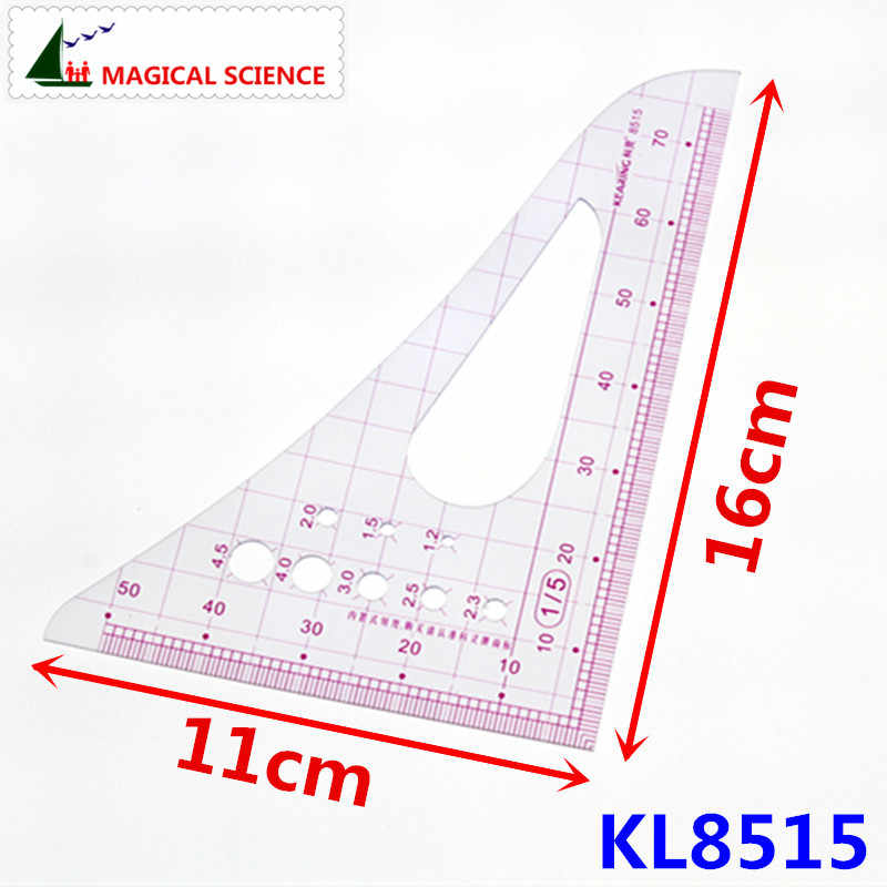 Geometric Technical Drawing Template Measuring Ruler Plastic 16cm for Drawing
