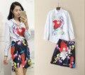 2017 de La Moda de Primavera Traje de Falda Ocasional Señoras de la Marca de Rayas Camisa de Estampado Floral + Print Vintage Mini Falda de Dos Piezas de Chándal mujer