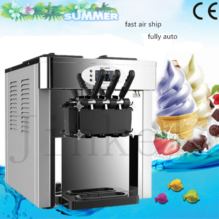 Free ship Commercial Soft Ice cream maker Three flavors Ice cream machine 220V/2500W 24-28L/H Professional Yogurt machine R22