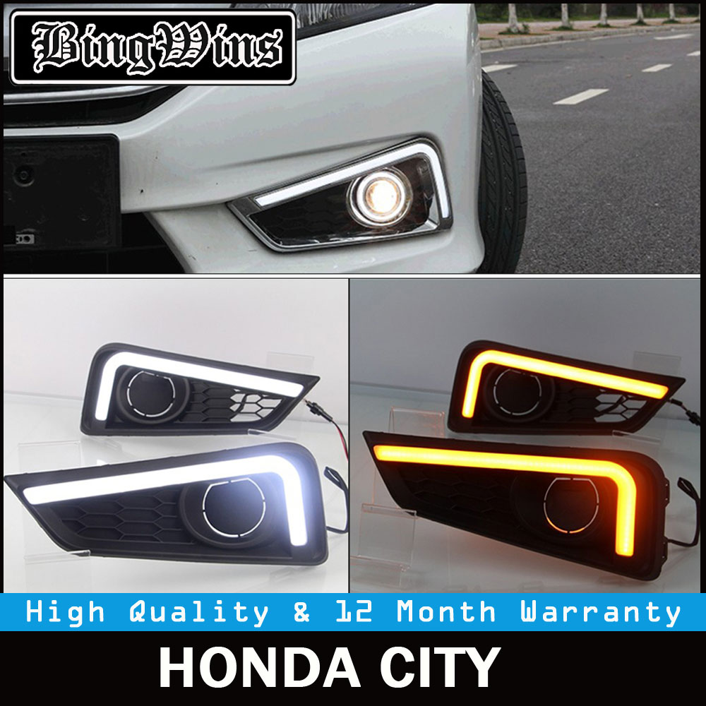 BINGWINS free shipping Car LED DRL Daytime Running Lights,fog light With Amber Turn Light For Honda GRACE CITY 2014 2015 2016 free shipping vland factory for mitsubishis 2013 2014 2015 pajero sport drl led daytime running light with turn lights
