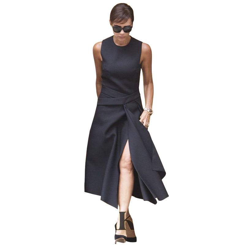 Victoria Beckham Dress Summer Women Office Dress Solid Color Black / Red Sleeveless Asymmetrical Mid Calf Dresses OL Work Dress