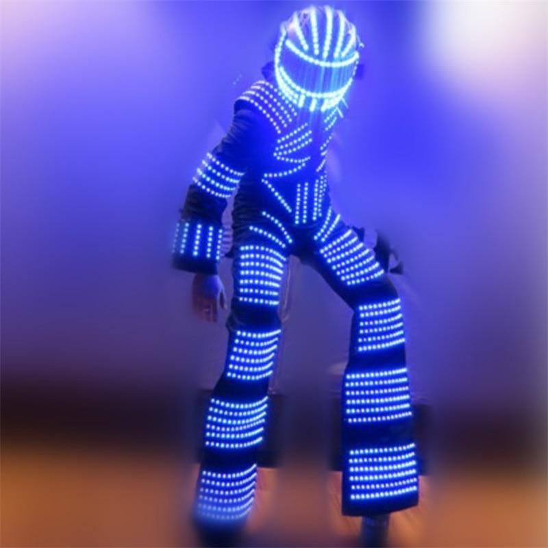 Kolorowy kostium świetlny LED z hełmem LED / Odzież LED / Światło Led Stilt Robot Suit Kryoman David Guetta Robot Dance Wear