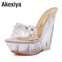 Zomer hoge hakken cool slippers transparant diamanten kristal schoenen wiggen metalen hoge hakken sandalen vrouwen nachtclub schoenen