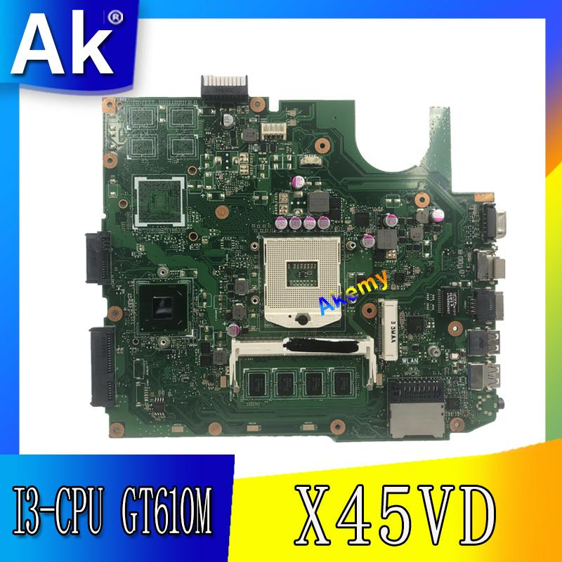 Akemy X45VD Motherboard On board 4GB RAM For ASUS X45VD X45V Laptop Mainboard SLJ8E GT610M 1GB REV 2.0 100% TestedAkemy X45VD Motherboard On board 4GB RAM For ASUS X45VD X45V Laptop Mainboard SLJ8E GT610M 1GB REV 2.0 100% Tested