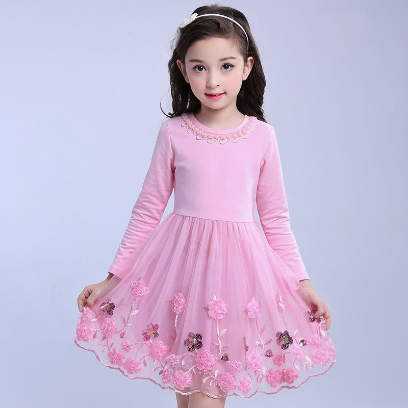 2018 New Autumn Winter Kids Girls Floral Dress Long Sleeve Lace Christmas Princess Dresses For Girl Clothes 4 6 8 10 12 13 Years europe kids 2018 autumn winter girls dress long sleeve dot christmas princess dresses elsa vestido infantil dress girl clothes
