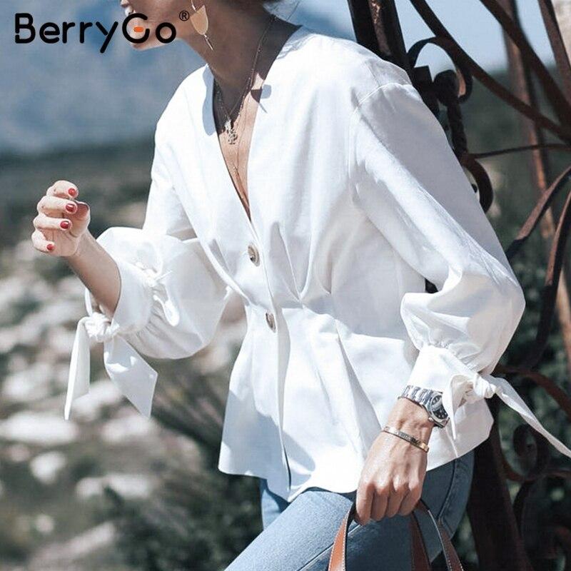 BerryGo Elegant women   blouse     shirt   Bow tie   blouse   half sleeve female top   shirt   v-neck Summer casual streetwear lady   blouse   2019