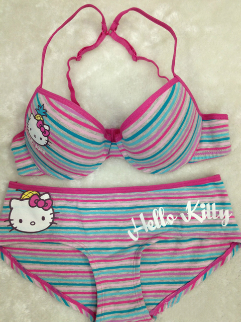 87ae1156e7 Hello kitty girl s bra sweet bra and panty set Cotton bra set 34b young  girl push up cotton