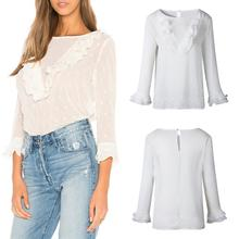 цена Autumn Women Round Neck Blouse White Dot Shirt Casual Loose Back Button Ruffle Sleeve Blouse hot