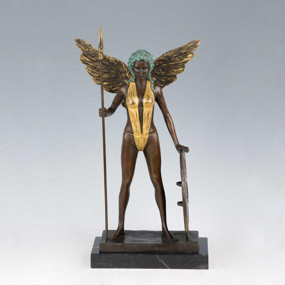 ATLIE греческой мифологии бронзовая скульптура Бог войны фигурки с мраморной базы миф богиня бронзовые статуэтки отель Декор