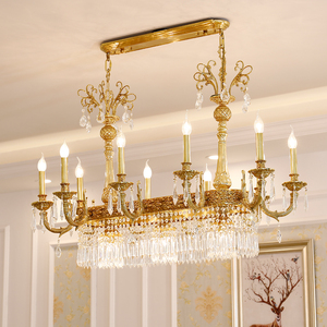 Free Shipping 100% Copper Crystal Chandelier L100cm Luxurious Bronze E14 Crystal Lamp Lustre Suspension Light Home Decoration
