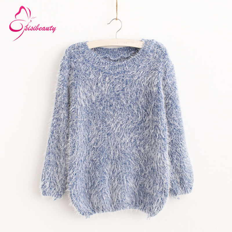 Sisibeauty 2015 Autumn Hot Sale Fashion Women Pullovers New Designer Casual Grey/Blue Long Sleeve Shaggy Mohair Loose Sweater 3