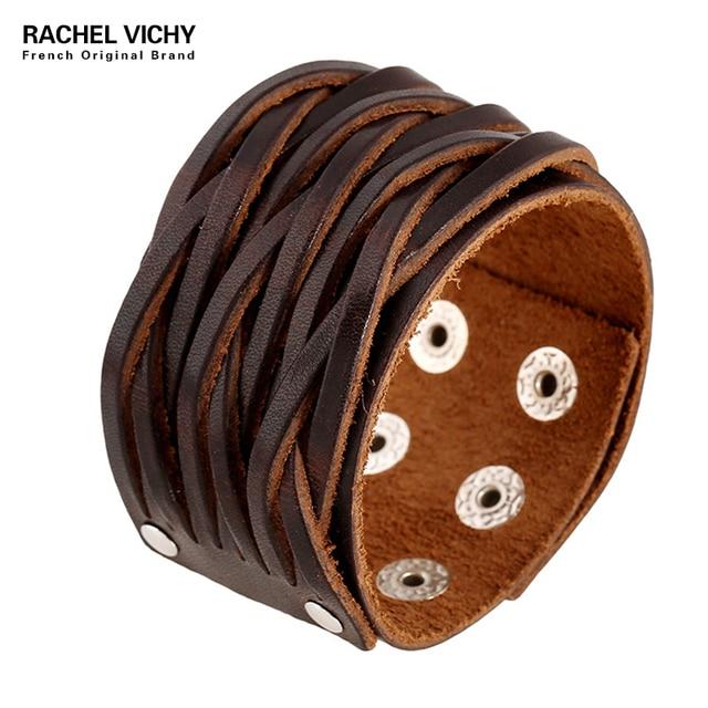 Simple Style Fashion Bracelets Male Vintage Punk Wide Genuine Leather Cuff Bracelet Sporty Man Jewelry