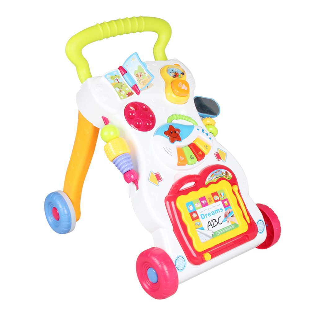 Baby Walker Toddler Trolley Sit-to-Stand Walker for Kid's Early Learning Educational Musical Adjustable Baby First Steps Go-Cart 45cm baby stroller sit to stand learning walker multifunction outdoor toy ride on car stokke activity walker gift for baby