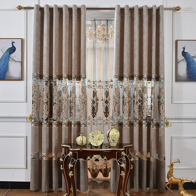 Laser Embroidery Curtain Fabric Chenille Velvet With Semi Shade Cloth Curtains For Living Dining Room