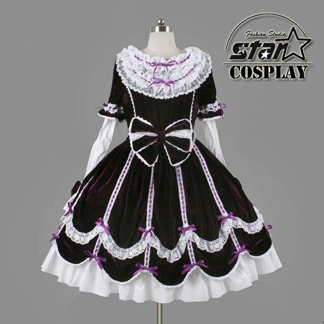 c17fcf3342 Plus Size Cotton Children Halloween Victorian Gothic Lolita Dress Girls  Cosplay Princess Lolita Costume Layered Kids Maid Dress