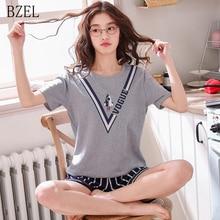 BZEL New Women Cartoon Pajamas Short Sleeve Cotton Pyjamas Two Pieces