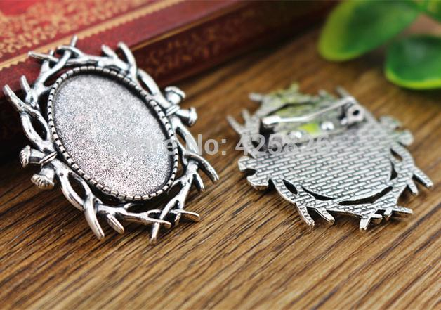 3pcs 18x25mm Inner Size Antique Silver Brooch Pin Classic Style Cameo Cabochon Base Setting  (C2-08)3pcs 18x25mm Inner Size Antique Silver Brooch Pin Classic Style Cameo Cabochon Base Setting  (C2-08)