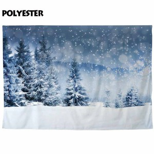 Image 4 - Funnytree photo background christmas backdrop studio winter photophone snow forest pine nature view bokeh photobooth photocall