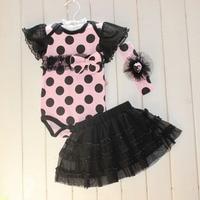 Toddler Kids Baby Girl Dot Bow Hair Headband Cute Romper Tutu Dress Outfit Set