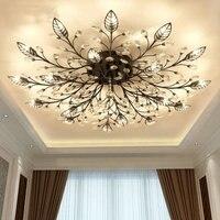 Modern Nordic K9 Crystal LED Ceiling Lights Fixture Gold Black Home Lamps For Living Room Bedroom
