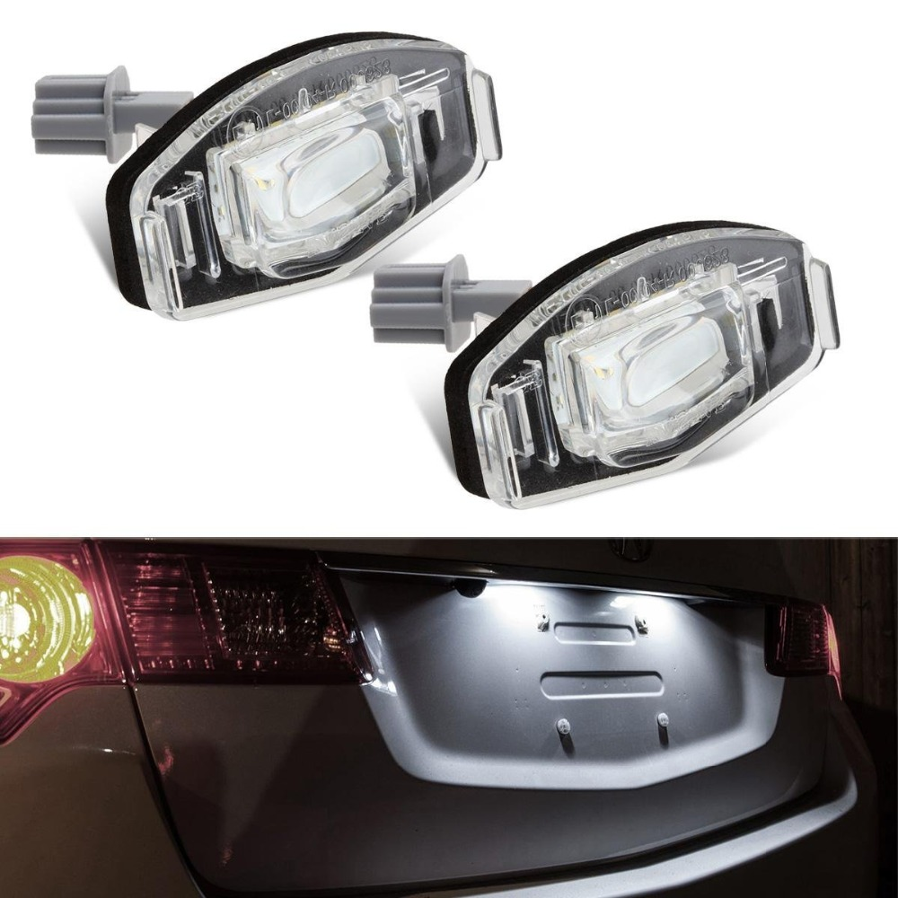Direct Fit White LED License Plate Light Lamps For Honda Civic,City,Legend,Accord4D Canbus free,No OBC Error code direct fit for kia sportage 11 15 led number license plate light lamps 18 smd high quality canbus no error car lights lamp