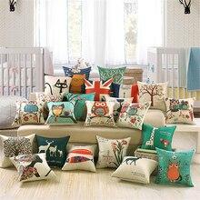 Fashion Square Sofa Bed Linen Cotton Pillowcase Owl Cartoon Cat Printed Print Pattern Modern Pillow Seat Cushion