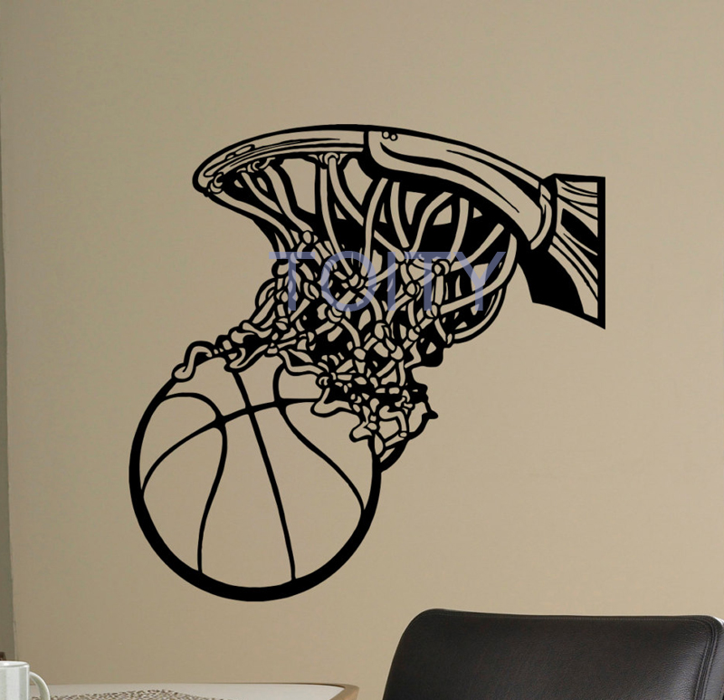 Basketball Net Wall Room Decor Art Basketball Hoop Vinyl Decal Kids Room Sticker Sport Mural H57cm x W57cm