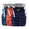 The New Kids Children Thickened Thermal Vest Boy Baby With A Removable Cap Cotton Vest,Fashion Boy Zipper Hoody Vest,2014 New