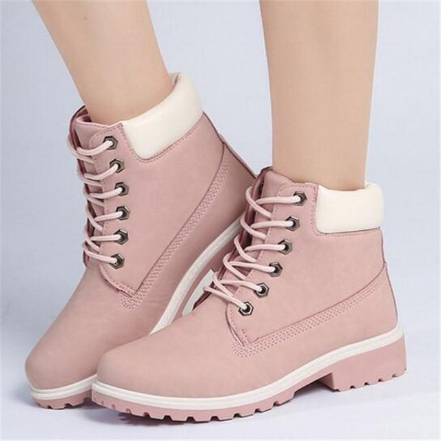 LAIDILANGTU Yeni Sonbahar Kış Ayakkabı Ayakkabı Kadın Düz Topuk Çizmeler Moda bayan Botları Marka Kadın Ayak Bileği Botas Sert Taban